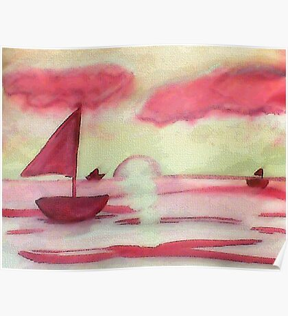 Tranquil sunset, watercolor Poster