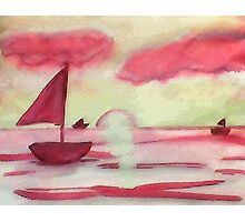 Tranquil sunset, watercolor Photographic Print