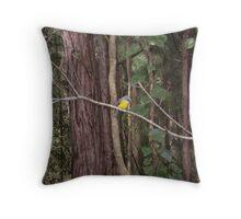 Tiny Unsuspecting Bird perching on a Tree Throw Pillow
