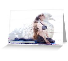 woman in yoga pose inside pigeon Greeting Card
