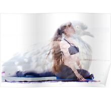 woman in yoga pose inside pigeon Poster