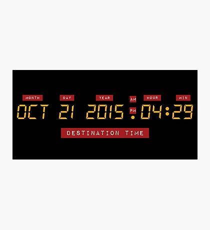 Back to the Future Oct 21, 2015 4:29 DeLorean Numbers Photographic Print
