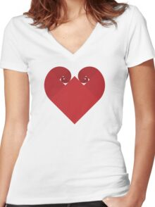 Golden Spiral Heart - No Outline Women's Fitted V-Neck T-Shirt