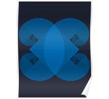 Golden Spiral 4 Arm Pattern - Blue Poster
