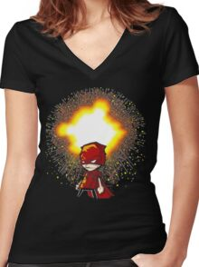 Calvin And Hobbes Superhero Women's Fitted V-Neck T-Shirt