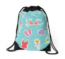 Lets go to the beach! Drawstring Bag