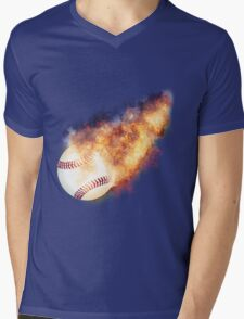 Baseball Flames Mens V-Neck T-Shirt