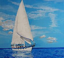 White Sail....Blue Sea by Antonio  Luppino