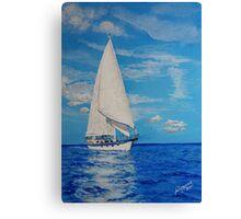 White Sail....Blue Sea Canvas Print