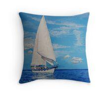 White Sail....Blue Sea Throw Pillow