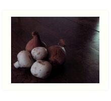 French Shallots and Mushrooms Art Print