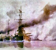 The Grand Fleet on it's Way to the Battle of Jutland by Dennis Melling