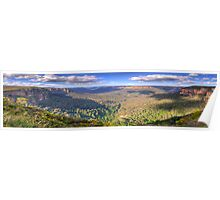 Shadows & Light - Govetts Leap, Blue Mountains, Sydney (30 Exposure HDR Panorama) - The HDR Experience Poster