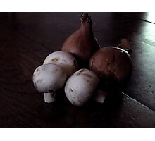 French Shallots and Mushrooms in Morning Light Photographic Print