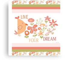 Live Your Dream floral typography Canvas Print