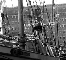 Tall Ships in Black & White - Gloucester Docks by Lynn Ede