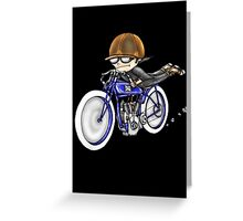 MOTORCYCLE EXCELSIOR STYLE (BLUE BIKE) Greeting Card