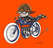 MOTORCYCLE EXCELSIOR STYLE (BLUE BIKE) Kids Tee