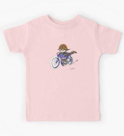 MOTORCYCLE EXCELSIOR STYLE (BLUE BIKE) Kids Tee