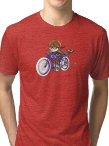 MOTORCYCLE EXCELSIOR STYLE (BLUE BIKE) Tri-blend T-Shirt