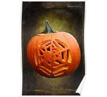 Pumpkin Showcasing a Spider Carving Poster
