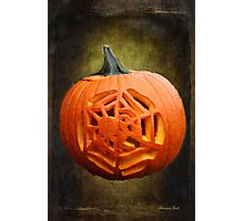 Pumpkin Showcasing a Spider Carving Photographic Print