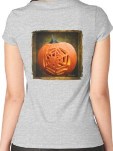 Pumpkin Showcasing a Spider Carving Women's Fitted Scoop T-Shirt