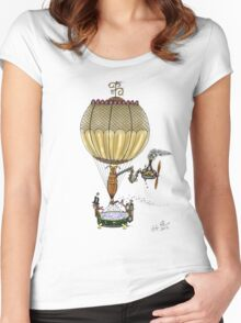 STEAMPUNK HOT AIR BALLOON Women's Fitted Scoop T-Shirt