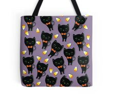 Black Cat Sweetheart and Candy Corn Tote Bag