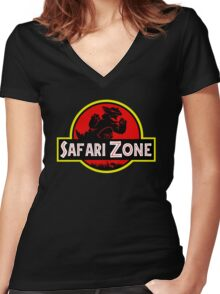 Safari Zone X Jurassic Park V2 Women's Fitted V-Neck T-Shirt