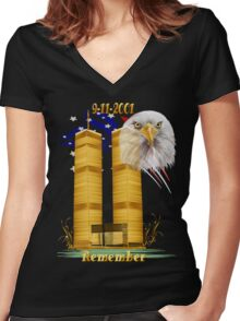 Gold Twin Towers, Eagle n Flag Women's Fitted V-Neck T-Shirt