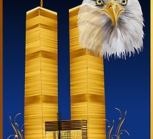Gold Twin Towers and Eagle by Lotacats
