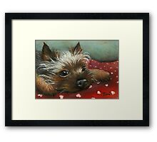 Yorkie and hearts Framed Print