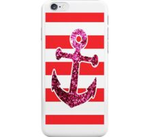 Anchor Sparkle Red Stripe iPhone Case/Skin