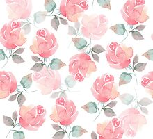 Hand-drawn beautiful roses. Seamless watercolor pattern by Gribanessa