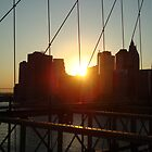 Sunset On The Brooklyn Bridge by infiniteartfoto
