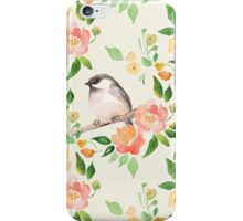 Watercolor floral background with a cut bird. Seamless pattern  iPhone Case/Skin
