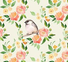 Watercolor floral background with a cut bird. Seamless pattern  by Gribanessa
