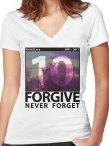 Forgive: 9/11 Ten Year Anniversary Women's Fitted V-Neck T-Shirt