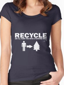 Recycle Or Die White  Women's Fitted Scoop T-Shirt
