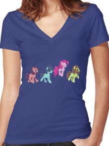 My Little Pony - MLP - Pinkie Pie and The Beatles Women's Fitted V-Neck T-Shirt