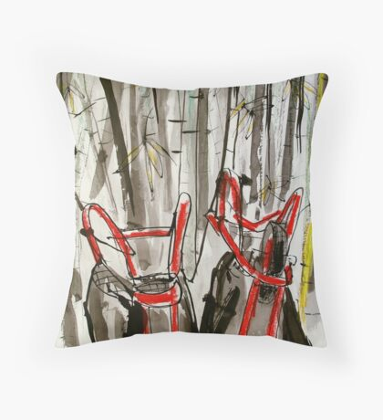 upturned wheel barrows in bamboo clump Throw Pillow