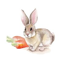Rabbit and carrots. Watercolor illustration by Gribanessa