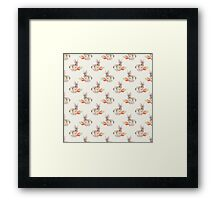 Rabbit and carrot. Seamless pattern. Cute watercolor background Framed Print