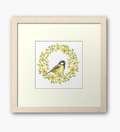 Cute small bird and yellow flowers Framed Print