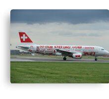 Swiss World cup Plane Canvas Print