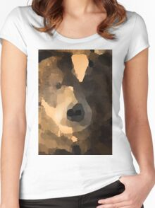brown bear abstract Women's Fitted Scoop T-Shirt