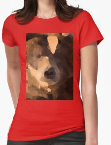 brown bear abstract Womens Fitted T-Shirt