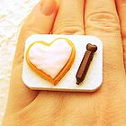 Heart Cookie + Chocolate Icing ~ Food Ring by souzoucreations