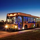 MAN low-floor city bus, ACTION, Canberra by buildings